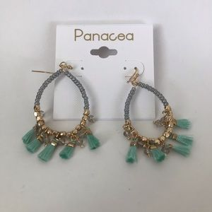 Panacea Gold Tassel hoop earrings